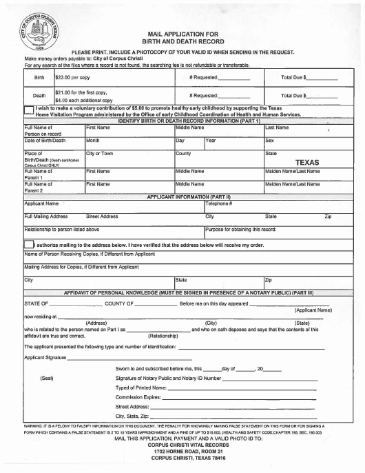 """""""Mail Application for Birth and Death Record"""" - City of Corpus Christi, Texas Download Pdf"""