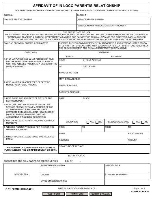 DFAS Form 9124 Printable Pdf
