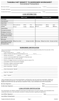 """""""Tangible Net Benefit Form to Borrower Worksheet"""""""
