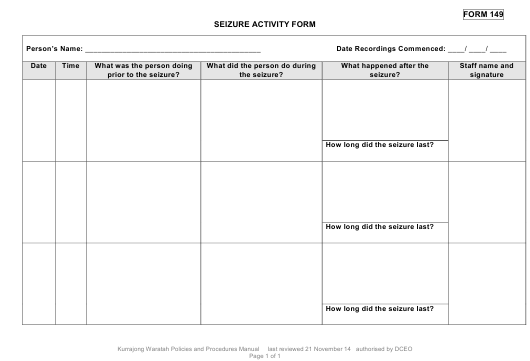 Seizure Activity Form Download Pdf