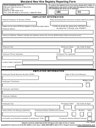 """New Hire Registry Reporting Form"" - Maryland"