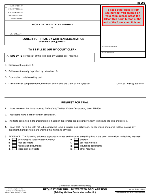 Form TR-205 Printable Pdf