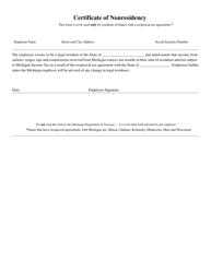 Certificate of Nonresidency - Michigan