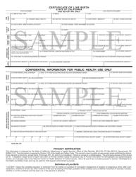 "Form VS10d ""Sample Certificate of Live Birth"" - California"