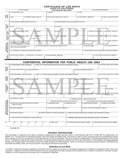 Form VS 10d Printable Pdf