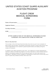Form ANSC 7042A Flight Crew Medical Screening Form