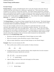 """""""Formal Charge and Resonance Chemistry Worksheet"""""""