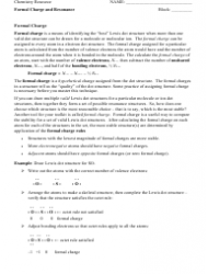 Formal Charge And Resonance Chemistry Worksheet