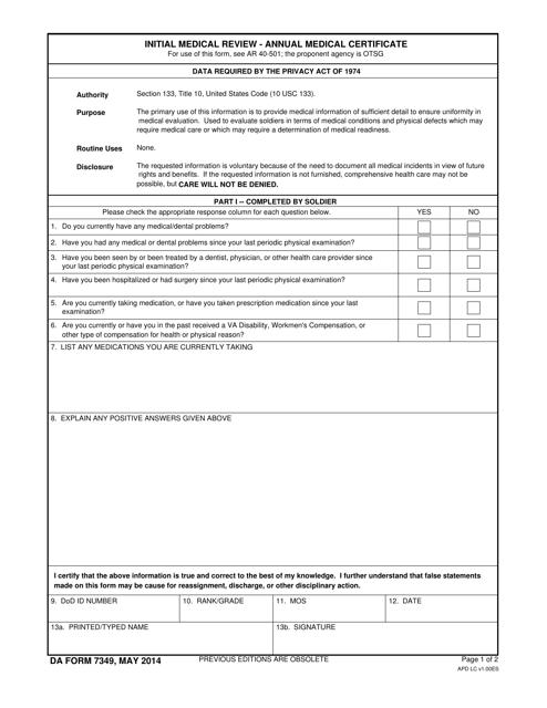 DA Form 7349 Fillable Pdf