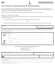 Form 05-391 Tax Clearance Letter Request for Reinstatement - Texas