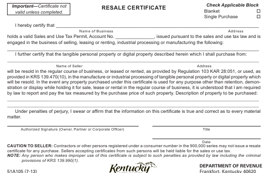 form 51a105 download printable pdf resale certificate templateroller