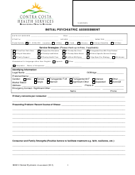 """Initial Psychiatric Assessment Form - Contra Costa Health Services"""