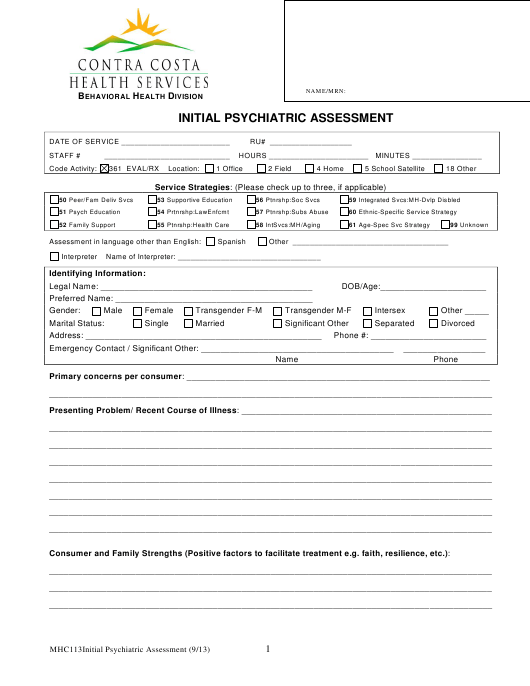 """Initial Psychiatric Assessment Form - Contra Costa Health Services"" Download Pdf"