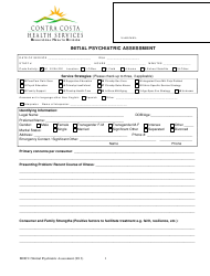 Initial Psychiatric Assessment Form - Contra Costa Health Services