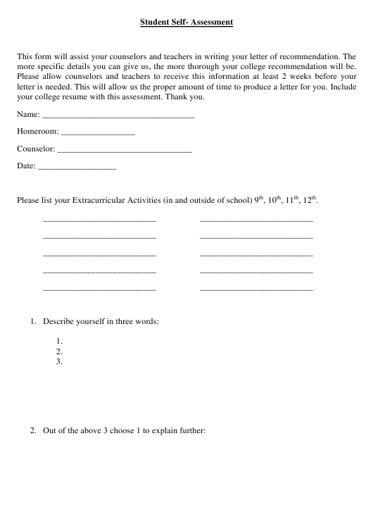 """Student Self-assessment Form"" Download Pdf"