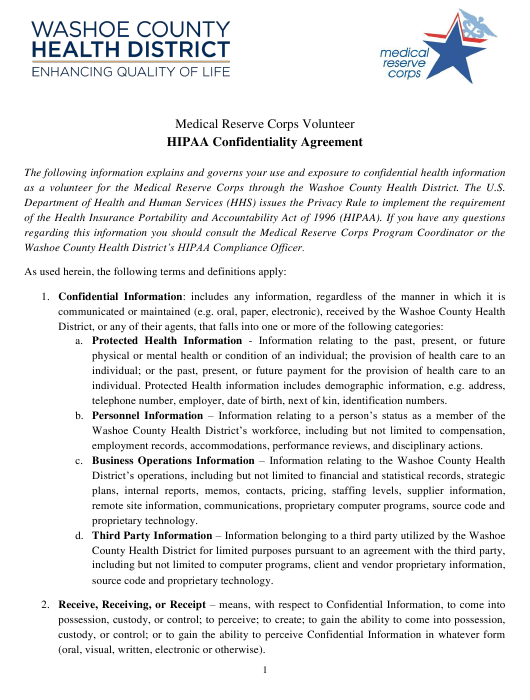 """""""Medical Reserve Corps Volunteer HIPAA Confidentiality Agreement Form"""" - Washoe County, Nevada Download Pdf"""