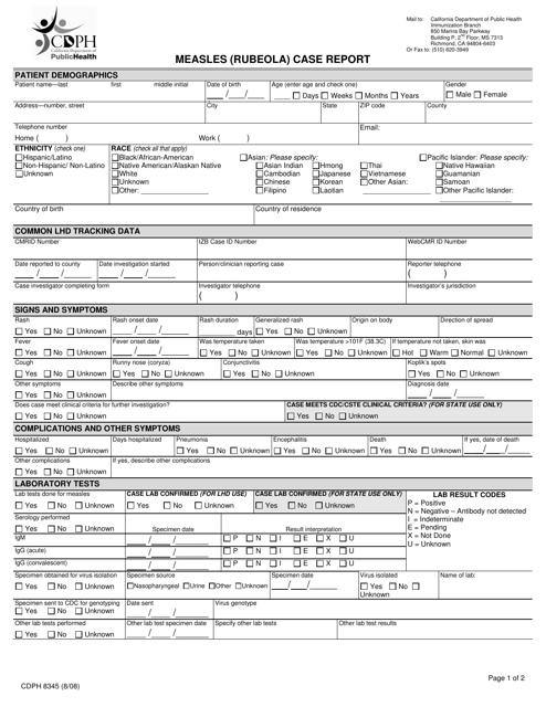 Form CDPH8345  Printable Pdf