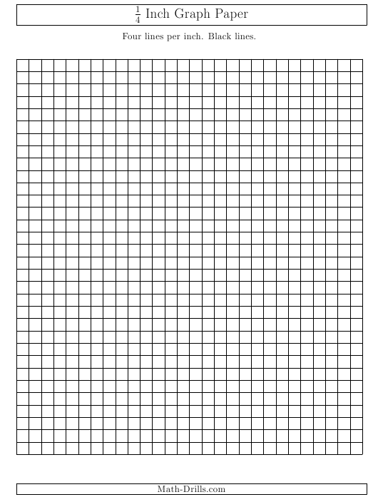 """""""1/4 Inch Lined Graph Paper Template"""" Download Pdf"""