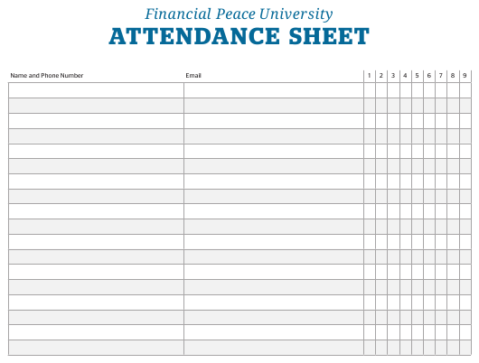 """Attendance Sheet Template - Financial Peace University"" Download Pdf"