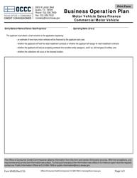 Form MV 65 Business Operation Plan - Motor Vehicle Sales Finance, Commercial Motor Vehicle - Austin, Texas