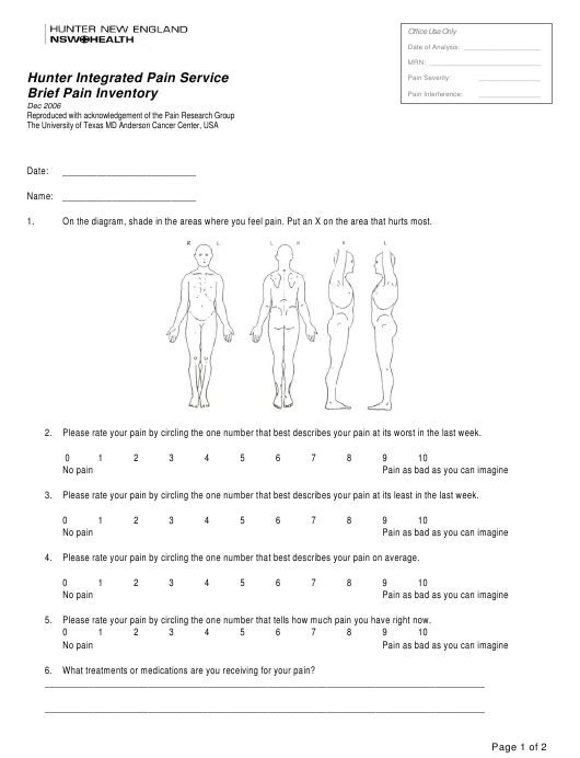 """Brief Pain Inventory Assessment Template - Hunter Integrated Pain Service"" Download Pdf"