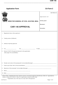 CA Form 2 Car 145 Approval Application Form - India