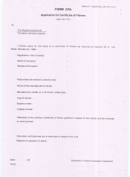 """Form CFA """"Application for Certificate of Fitness"""" - Tamil Nadu, India"""
