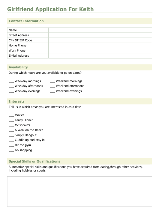 Application form for dating