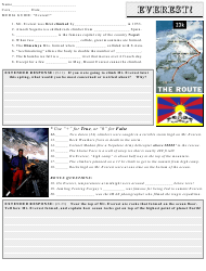 """Everest Geography Worksheet With Answer Key"""