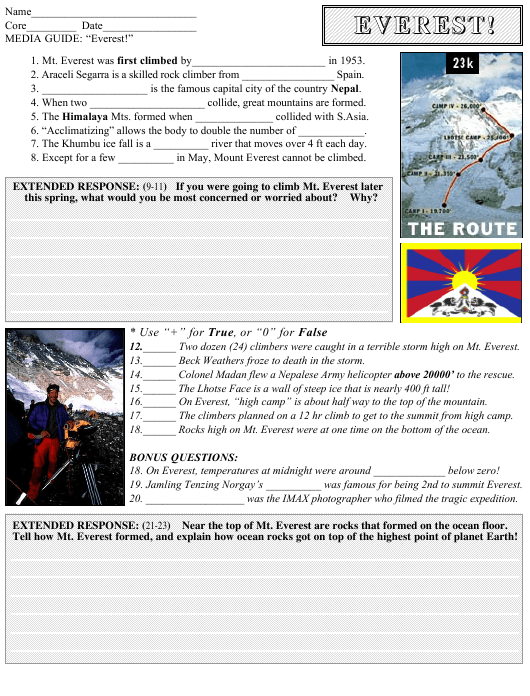 """""""Everest Geography Worksheet With Answer Key"""" Download Pdf"""