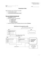 """""""Preparation of Salts Chemistry Worksheet"""""""