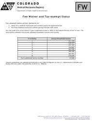 """""""Fee Waiver and Tax-Exempt Status Form"""" - Colorado"""