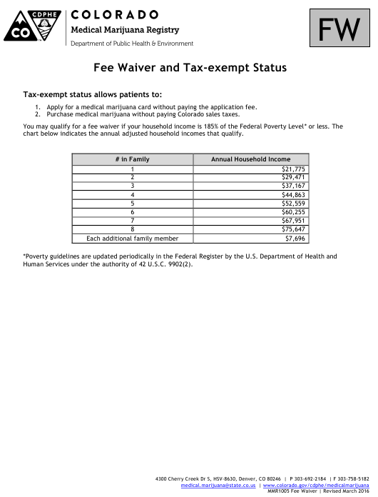 """""""Fee Waiver and Tax-Exempt Status Form"""" - Colorado Download Pdf"""