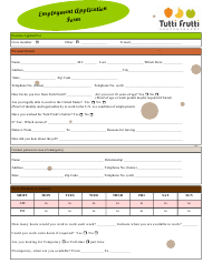 Employment Application Form - Tutti Frutti