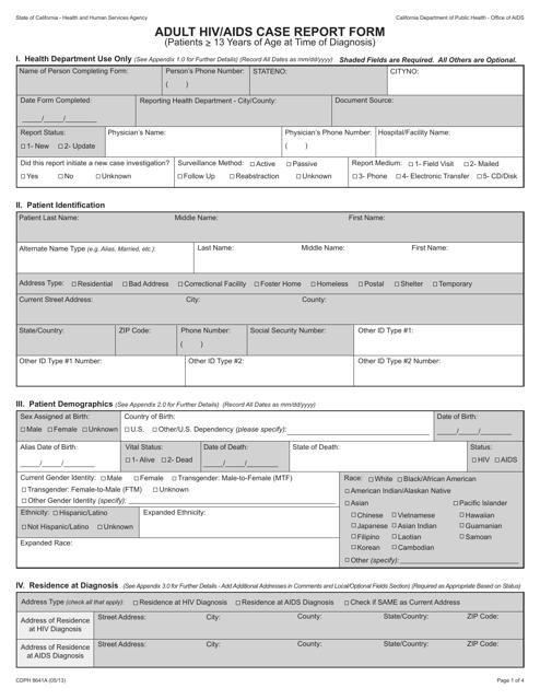 Form CDPH8641A  Printable Pdf