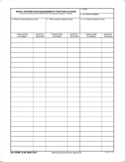 DA Form 12-99  Fillable Pdf