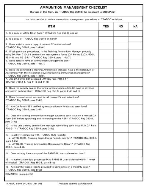 TRADOC Form 240-r-e Download Printable PDF, Ammunition