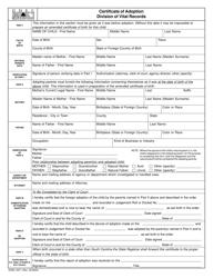 DHEC Form DHEC 0671 Certificate of Adoption - South Carolina