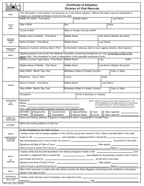 DHEC Form 0671  Printable Pdf