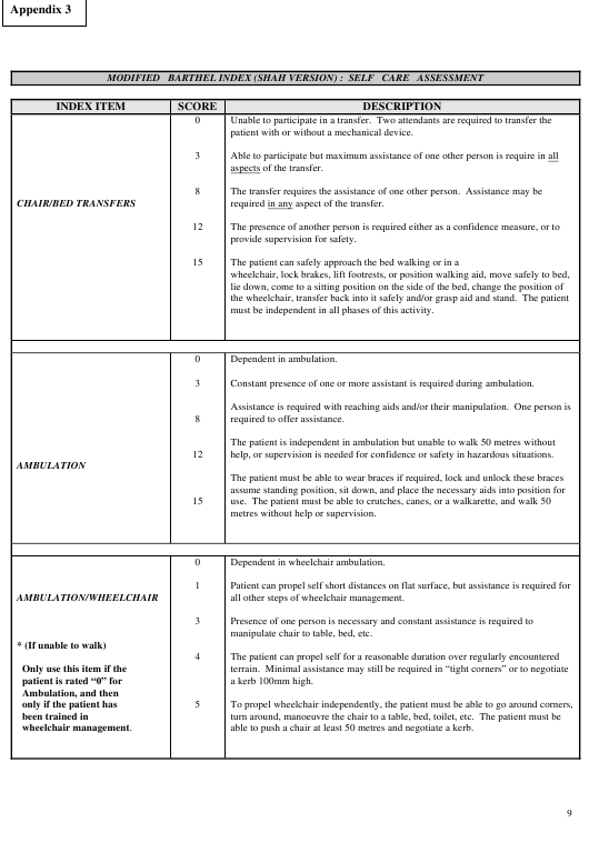 Modified Berthel Index (Shah Version) - Self Care Assessment Form Download Pdf