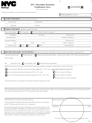 """Form DS1 """"Demolition Submittal Certification Form"""" - New York City"""