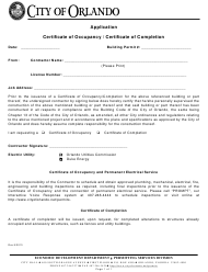 """Application for Certificate of Occupancy/Certificate of Completion"" - City of Orlando, Florida"