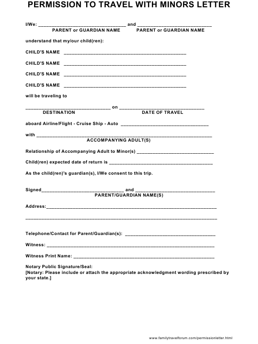 """""""Permission to Travel With Minors Letter Template"""" Download Pdf"""