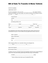 Bill of Sale to Transfer a Motor Vehicle - Limestone County, Alabama