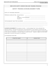 """Safety Training Acknowledgment Form"""