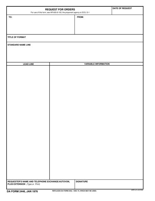 DA Form 2446  Printable Pdf
