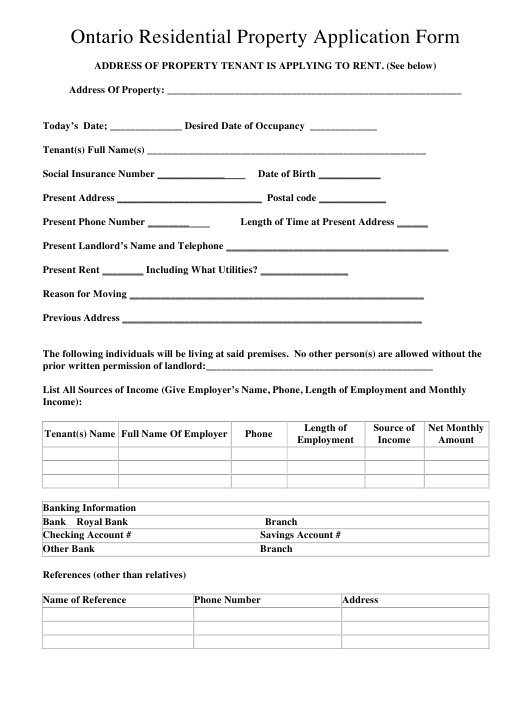 """Residential Property Application Form"" - Ontario, Canada Download Pdf"