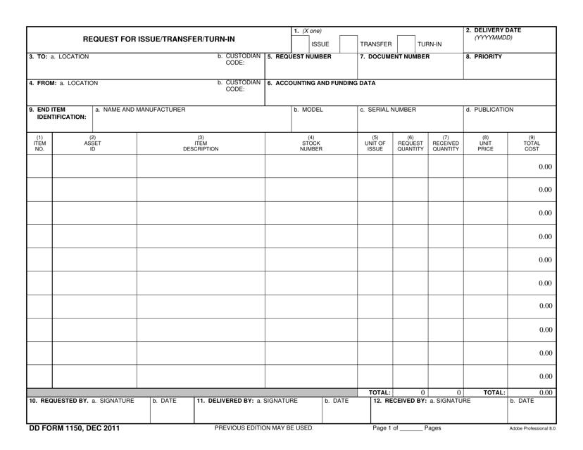 DD Form 1150 Fillable Pdf