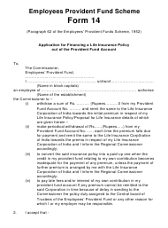 """Form 14 """"Application for Financing a Life Insurance Policy out of the Provident Fund Account"""" - India"""