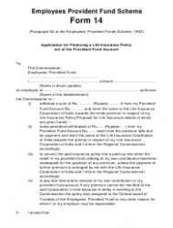 Form 14 Application for Financing a Life Insurance Policy out of the Provident Fund Account